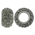 Rhinestone Beads European, clay, Rondelle, platinum plated, sterling silver single core without troll & with Czech rhinestone, grey, 7x12mm, Hole:Approx 4.5mm, 5PCs/Lot, Sold by Lot