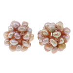 Ball Cluster Cultured Pearl Beads, Freshwater Pearl, Flower, natural, purple, 15mm, Sold By PC