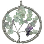 Gemstone Pendants Jewelry, Natural Fluorite, with Brass, Flat Round, platinum color plated, 48x55x6mm, Hole:Approx 6mm, 20PCs/Lot, Sold By Lot