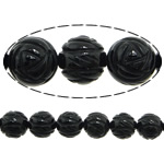 Natural Black Agate Beads, Flower, Carved, 12mm, Hole:Approx 1.5mm, 29PCs/Strand, Sold per approx 14 Inch Strand