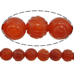 Natural Red Agate Beads, Flower, Carved, 10mm, Hole:Approx 1.5mm, 37PCs/Strand, Sold per 14 Inch Strand