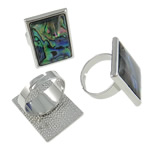 Shell Finger Rings, Rectangle, iron ring base with abalone shell & zinc alloy, platinum color plated, 21x27x26mm, Size 9, Inner Diameter:Approx 19mm, 50PCs/Box, Sold by Box