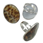 Shell Finger Rings, Oval, iron ring base with tiger skin pattern sea shell & zinc alloy, platinum color plated, 26x36x27mm, Size 9, Inner Diameter:Approx 19mm, 50PCs/Box, Sold by Box