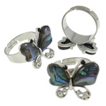 Shell Finger Rings, Butterfly, iron ring base with abalone shell & zinc alloy, platinum color plated, with rhinestone, 24x20x24mm, Size 9, Inner Diameter:Approx 19mm, 50PCs/Box, Sold by Box