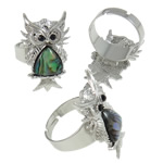 Shell Finger Rings, Owl, iron ring base with abalone shell & zinc alloy, platinum color plated, with rhinestone, 21x31x26mm, Size 9, Inner Diameter:Approx 19mm, 50PCs/Box, Sold by Box