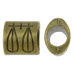 Zinc Alloy European Beads, Tube, antique bronze color plated, without troll, nickel, lead & cadmium free, 9.50x9x6.50mm, Hole:Approx 4.5mm, approx 625PCs/KG, Sold by KG