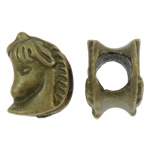 Zinc Alloy European Beads, Horse, antique bronze color plated, without troll, nickel, lead & cadmium free, 10x14x10mm, Hole:Approx 5.5mm, 100PCs/Bag, Sold by Bag