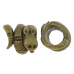 Zinc Alloy European Beads, Snake, antique bronze color plated, without troll, nickel, lead & cadmium free, 9x11x11mm, Hole:Approx 5mm, 200PCs/Bag, Sold by Bag