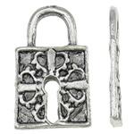 Sinkkiseos Lock riipukset, Lukko, antiikki hopea päällystetty, nikkeli, lyijy ja kadmium vapaa, 16x27x2.50mm, Reikä:N. 6.5x7mm, N. 350PC/KG, Myymät KG