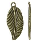 Sinkkiseos Feather riipukset, Sulka, antiikki pronssi väri päällystetty, nikkeli, lyijy ja kadmium vapaa, 12x27.50x2mm, Reikä:N. 2mm, N. 550PC/KG, Myymät KG