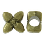 Zinc Alloy European Beads, Flower, antique bronze color plated, without troll, nickel, lead & cadmium free, 10x10x7mm, Hole:Approx 4.5mm, approx 450PCs/KG, Sold by KG