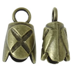 Zinc Alloy End Cap, with antique bronze color plated, nickel, lead & cadmium free, 14x25x12mm, Hole:Approx 5.5mm, approx 190PCs/KG, Sold by KG