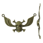 Zinc Alloy Connector Setting, Skull, antique bronze color plated, 1/1 loop, nickel, lead & cadmium free, 57x29x5.50mm, Hole:Approx 2.5mm, Approx 150PCs/KG, Sold By KG