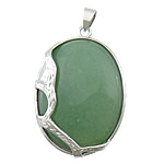 Green Aventurine Pendants, with brass, Flat Oval, platinum color plated, 33x43x10mm, Hole:Approx 4x6mm, 20PCs/Lot, Sold by Lot