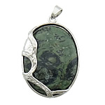 Jasper Kambaba Pendants Jewelry, with brass, Flat Oval, platinum color plated, 33x43x10mm, Hole:Approx 4x6mm, 20PCs/Lot, Sold by Lot