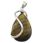 Tiger Eye Pendants, with brass, Teardrop, platinum color plated, 21.50x33x11mm, Hole:Approx 4x6mm, 20PCs/Lot, Sold by Lot