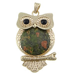 Unakite Pendants Jewelry, with brass, Owl, gold color plated, with rhinestone, 40x63x7mm, Hole:Approx 4x7mm, 10PCs/Lot, Sold by Lot