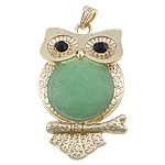 Green Aventurine Pendants, with brass, Owl, gold color plated, with rhinestone, 40x63x7mm, Hole:Approx 4x7mm, 10PCs/Lot, Sold by Lot