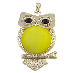 Cats Eye Pendants Jewelry, with brass, Owl, gold color plated, with rhinestone, 40x63x7mm, Hole:Approx 4x7mm, 10PCs/Lot, Sold by Lot