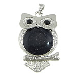 Blue Goldstone Pendants, Owl, platinum color brass setting, with rhinestone, 40x63x7mm, Hole:Approx 4x7mm, 10PCs/Lot, Sold by Lot