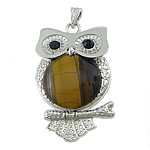 Tiger Eye Pendants, Owl, platinum color brass setting, with rhinestone, 40x63x7mm, Hole:Approx 4x7mm, 10PCs/Lot, Sold by Lot
