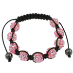 Resin Shamballa Bracelet, with rhinestone resin &amp; hematite beads &amp; handmade wax cord, pink, 10x12mm, Sold per approx 7.5 Inch Strand