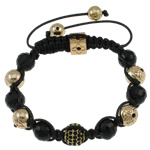 Fashion Shamballa Bracelet, with wax cord &amp; gold color plated rhinestone pave &amp; crystal beads, nickel, lead &amp; cadmium free, 10mm, Sold per approx 7.5 Inch Strand