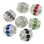 Zinc Alloy European Beads, Drum, platinum color plated, with rhinestone, mixed colors, nickel, lead & cadmium free, 9x10x10mm, Hole:Approx 5mm, 100PCs/Bag, Sold by Bag