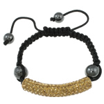 Rhinestone Shamballa Bracelet, with wax cord &amp; platinum color zinc alloy rhinestone clay pave &amp; hematite beads, handmade, 47x12x9mm, Length:approx 7.5 Inch, approx 10Strands/Bag, Sold by Bag