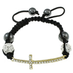 Fashion Shamballa Bracelet, with gold color plated zinc alloy rhinestone clay pave connector &amp; bead &amp; wax cord &amp; hematite beads, 14x49x9mm, Length:approx 7.5 Inch, approx 12Strands/Bag, Sold by Bag