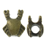 Zinc Alloy European Beads, Crab, antique bronze color plated, without troll, nickel, lead & cadmium free, 11.50x14x12mm, Hole:Approx 5.5mm, approx 100PCs/Bag, Sold by Bag
