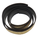 Leather Cord, gold, 18x2mm, Length:Approx 20 m, 20Strands/Bag, Sold By Bag