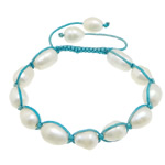Freshwater Pearl Shamballa Bracelets, cultured freshwater pearl, with nylon cord, 10-14x9-10x9.5mm, Length:6-10 Inch, 10Strands/Lot, Sold by Lot