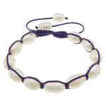 Freshwater Pearl Shamballa Bracelets, cultured freshwater pearl, with nylon cord, 12-14x9x9mm, Length:6-11 Inch, 10Strands/Lot, Sold by Lot