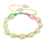 Freshwater Pearl Shamballa Bracelets, cultured freshwater pearl, with nylon cord, 10-12x9x9mm, Length:6-10 Inch, 10Strands/Lot, Sold by Lot