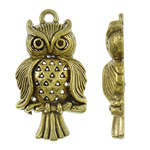 Zinc Alloy Pendant Rhinestone Setting, Owl, antique gold color plated, hollow, nickel, lead & cadmium free, 16x30x5mm, Hole:Approx 2mm, Approx 355/