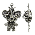 Zinc Alloy Pendant Rhinestone Setting, Elephant, antique silver color plated, hollow, nickel, lead & cadmium free, 36x52x18.50mm, Hole:Approx 3mm, Approx 20PCs/Bag, Sold By Bag