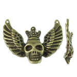 Zinc Alloy Connector Setting, Skull, antique bronze color plated, 1/1 loop, nickel, lead & cadmium free, 39.50x32.50x6.50mm, Hole:Approx 1mm, Approx 180PCs/KG, Sold By KG