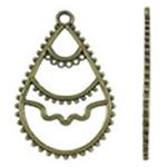 Zinklegering holle hangers, Zinc Alloy, Traan, antiek brons plated, nikkel, lood en cadmium vrij, 29.50x46x2mm, Gat:Ca 3mm, Ca 280pC's/KG, Verkocht door KG