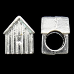 Zinc Alloy European Beads, House, silver color plated, without troll, nickel, lead & cadmium free, 8x10x7.50mm, Hole:Approx 4.5mm, approx 625PCs/KG, Sold by KG