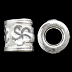 Zinc Alloy European Beads, Tube, silver color plated, without troll, nickel, lead & cadmium free, 9x10mm, Hole:Approx 5.5mm, approx 430PCs/KG, Sold by KG