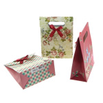 Fashion Gift Bag, paper, with satin ribbon, mixed colors, 125x166x60mm, 120PCs/Bag, Sold by Bag