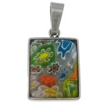 Millefiori Glass Pendant Jewelry, 316 Stainless Steel, with Murano Millefiori Lampwork, Rectangle, original color, 13.20x19.20x4mm, Hole:Approx 4x6.8mm, Sold By PC