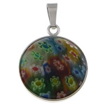Millefiori Glass Pendant Jewelry, 316 Stainless Steel, with Murano Millefiori Lampwork, Flat Round, original color, 21x26x6.80mm, Hole:Approx 4x7.5mm, Sold By PC