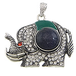 Blue Goldstone Pendants, with zinc alloy, Elephant, platinum color plated, enamel & with rhinestone, 46x38x10mm, Hole:Approx 4x7mm, 20PCs/Lot, Sold by Lot