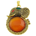 Red Agate Pendants, with zinc alloy, Animal, gold color plated, enamel & with rhinestone, 38x52x10mm, Hole:Approx 4x7mm, 10PCs/Lot, Sold by Lot