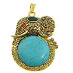 Turquoise Pendant, synthetic turquoise, with zinc alloy, Animal, gold color plated, enamel & with rhinestone, 38x52x10mm, Hole:Approx 4x7mm, 10PCs/Lot, Sold by Lot
