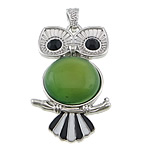 Green Agate Pendant, with zinc alloy, Owl, platinum color plated, enamel & with rhinestone, 27x49x9mm, Hole:Approx 4x7mm, 20PCs/Lot, Sold by Lot