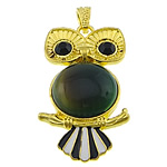 Green Agate Pendant, with zinc alloy, Owl, gold color plated, enamel & with rhinestone, 27x49x9mm, Hole:Approx 4x7mm, 20PCs/Lot, Sold by Lot