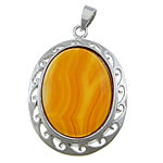 Red Agate Pendants, lace agate, with brass, Flat Oval, platinum color plated, 32x45x12mm, Hole:Approx 4x7mm, 20PCs/Lot, Sold by Lot